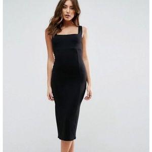 ASOS Thick Strap Square Neck Midi Bodycon Dress